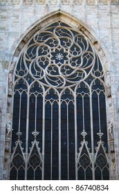 A photo of the beautiful window of Milan's Duomo Cathedral.