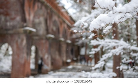 Photo of the beautiful winter landscape at the large brick aqueduct that passes through the temple grounds in Kyoto City's Nanzenji Temple in Japan.