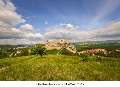 Photo of Beckov Castle in Slovakia, with surrounding countryside