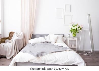 photo of bedroom interior in Scandinavian style
