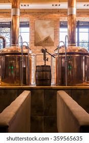 Photo of beer boil kettle in fancy pub