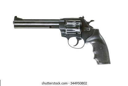 Photo of  black revolver isolated on white background