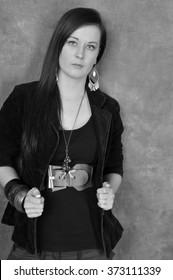 photo black and white beautiful 20 something year old female portrait