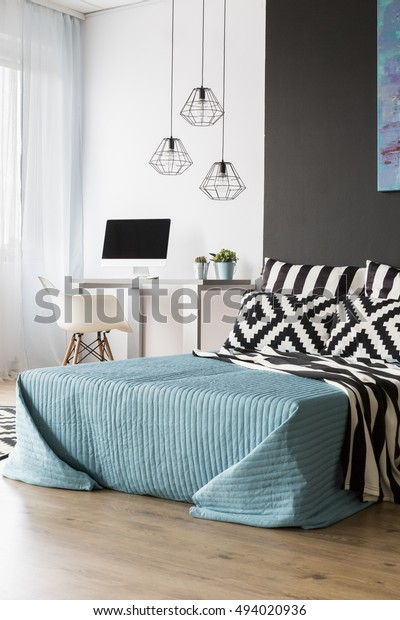 Photo Black White Bedroom Large Bed Stock Edit Now 494020936