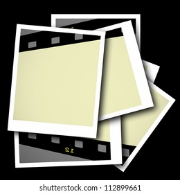 photo with blank film strip frame isolated on black  background