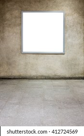 Photo blank mockup of square poster  hanging on concrete wall background, Front view