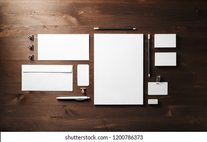 Photo of blank stationery set on wooden background. Business brand template. Branding mock up. Flat lay.