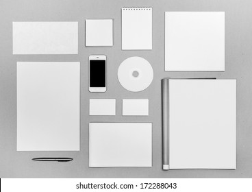 Photo. Blank stationery set on on the texture background / business cards, letterheads, disk, envelope, booklet, notepad, magazine, phone, brochure