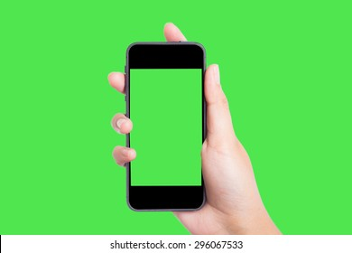 Photo blank. Women hand holding blank mobile smart phone on green screen.