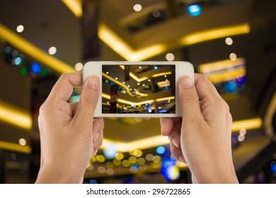 Photo blank. Women hand holding blank mobile smart phone