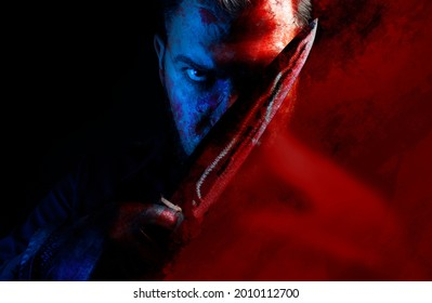 Photo of a bloody angry murderer in leather gloves holding kitchen knife.
