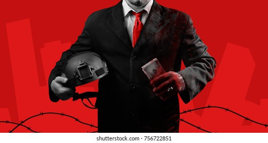 Photo of a bloody politician in black suit with red tie holding soldier helmet and money banknotes on crimson red background with barbed wire.