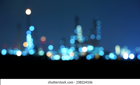 Photo bokeh of oil refinery factory at twilight