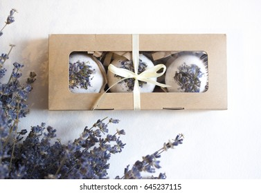 Photo bombs with lavender flowers handmade for bath and bath