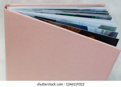 photo book with  leather cover unfolded photobook background for photo publishing sample photobook photo book opened