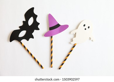 Photo booth colorful props for Halloween party - Witch hat, Ghost, Bat