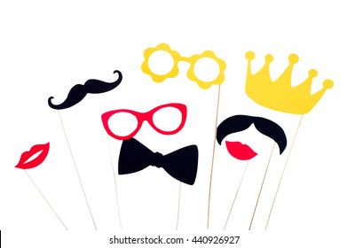 Photo booth props glasses, mustache, crown, lips isolated on white background. Birthday and Party Set and wedding.