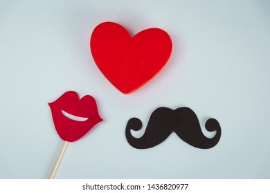 Photo booth props lips and Black Mustache and heart shape over white background