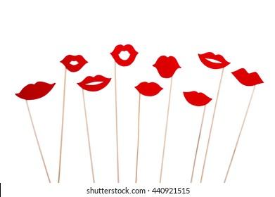 Photo booth props lips isolated on white background. Birthday and Party Set and wedding.