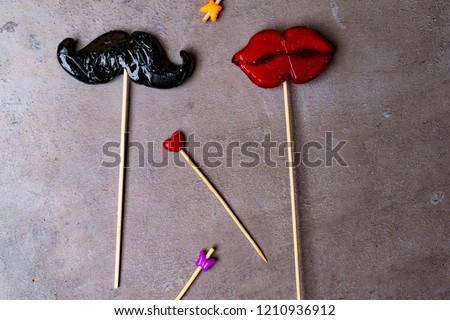 Photo Booth Props Mustache Lips Butterflies Stock Photo Edit Now