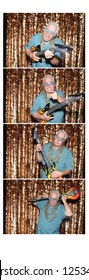 Photo Booth Photo Strip. A man poses and smiles while in a Photo Booth. Photo strip with room for text.