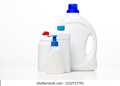 Photo of bottle of liquid cleaners on clean white background,