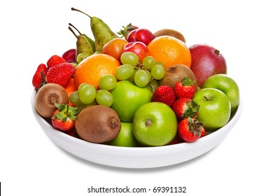 Photo of a bowl of fresh fruit isolated on a white background.