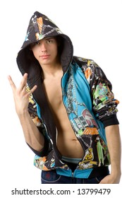 Photo of the boy in rapper clothes