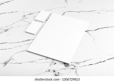 Photo of branding identity mock up on white marble. Template isolated on marble background. For graphic designers presentations and portfolios marble premium luxury mock-up