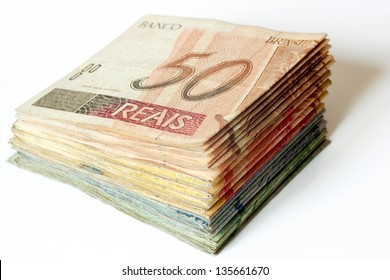 Photo of Brazilian money pile