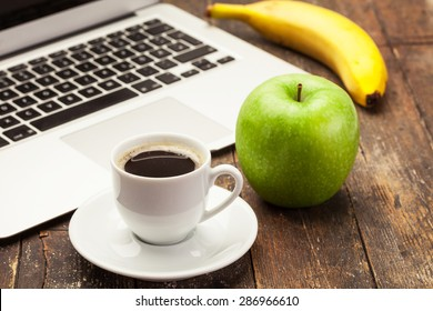 Photo of breakfast while working at computer
