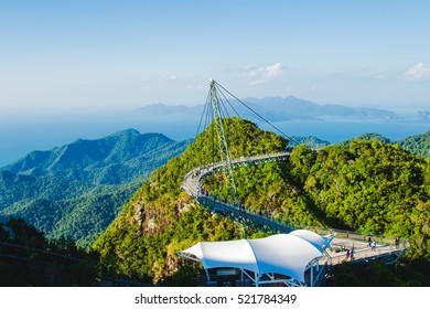 Photo of the Breathtaking landscape with cable-stayed bridge, symbol Langkawi, Malaysia. Adventure holiday. Modern technology. Tourist attraction. Travel concept.