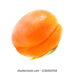 Photo of a bright macro sweet apricot on a white background