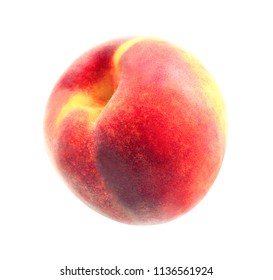 Photo of a bright macro sweet peach on a white background