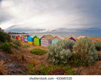 A photo of Brighton beach houses at dawn, Australia.