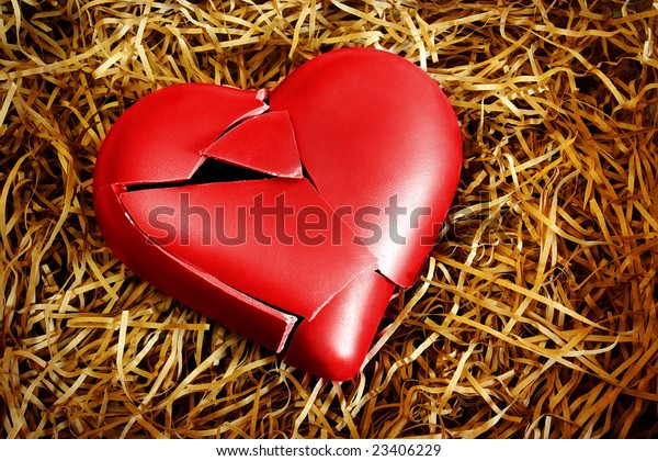 Photo with a broken heart protected with straws