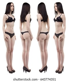Photo of brunette woman from four sides