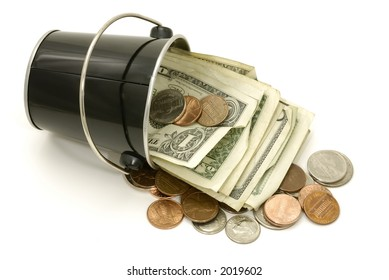 Photo of a Bucket With Cash - Bucket of Cash Concept