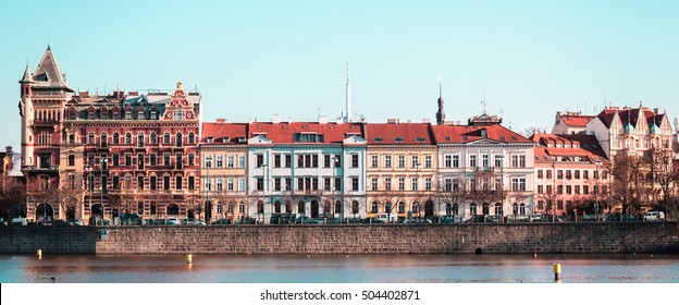 Photo of Buildings and Streets near Vltava River in Prague, Czech Republic