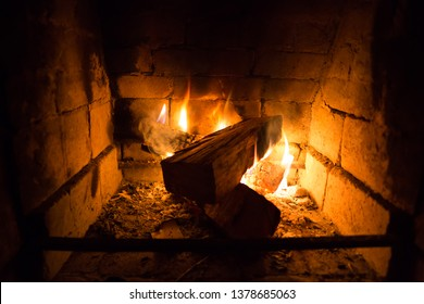 Photo of burning fire in fireplace for graphic and web design, for website or mobile app