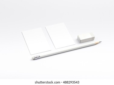 Photo of business cards isolated on white. Business cards template for branding identity. Business cards For graphic designers presentations and portfolios. Brand, template, identity,  Business Card,