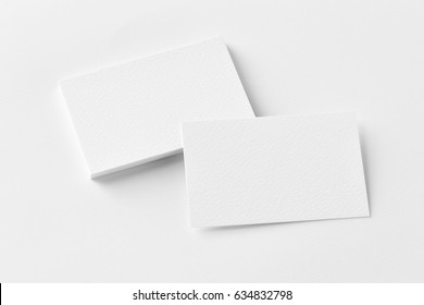 Photo of business cards stack. Template for branding identity. Isolated with clipping path.