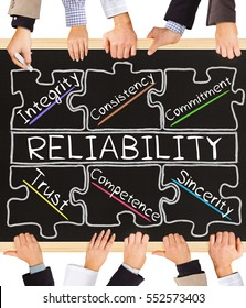 Photo of business hands holding blackboard and writing RELIABILITY concept