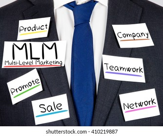 Photo of business suit and tie with MLM concept paper cards