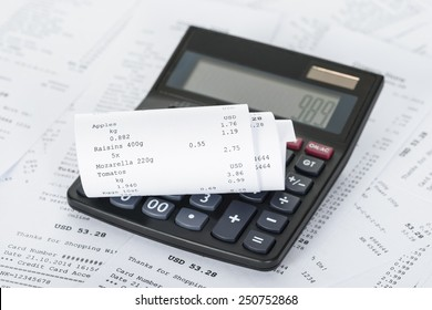 Photo Of Calculator On Generic Receipts With Costs