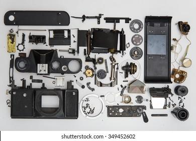 photo camera disassembled parts