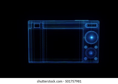 Photo Camera in Hologram Wireframe Style. Nice 3D Rendering