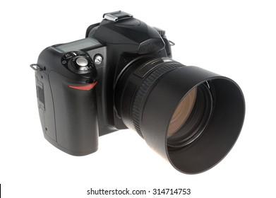 Photo camera with money on white background