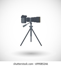 Photo camera on tripod icon, flat design of travel, hobby and photo shooting object with round shadow isolated on the white background, illustration