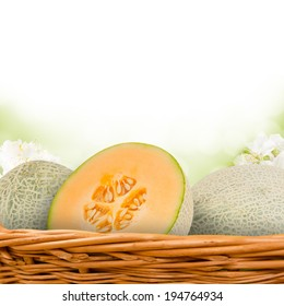 Photo of canteloupe melon in basket with blossom background